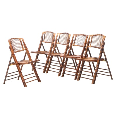 Five Contemporary Bamboo and Hardwood Folding Side Chairs