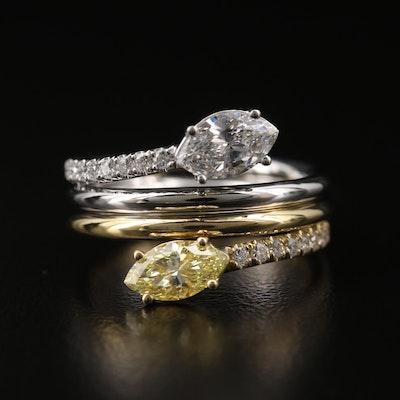 18K Two Tone 1.50 CTW Diamond Bypass Ring