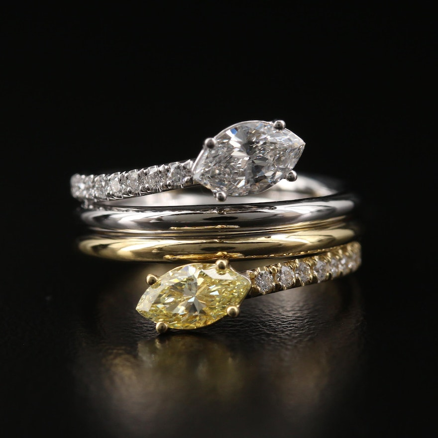 18K Two Tone 1.50 CTW Diamond Bypass Ring