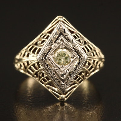 14K Diamond Ring with Openwork Detail