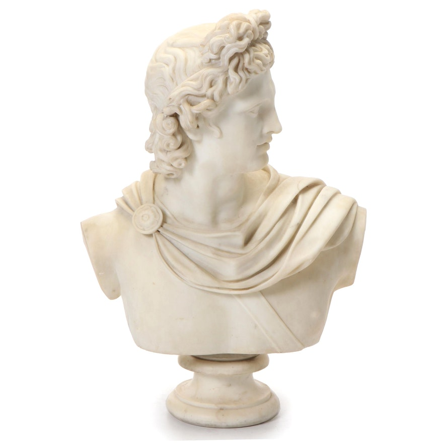 """Classical Style Carved Marble Bust """"Apollo Belvedere"""""""