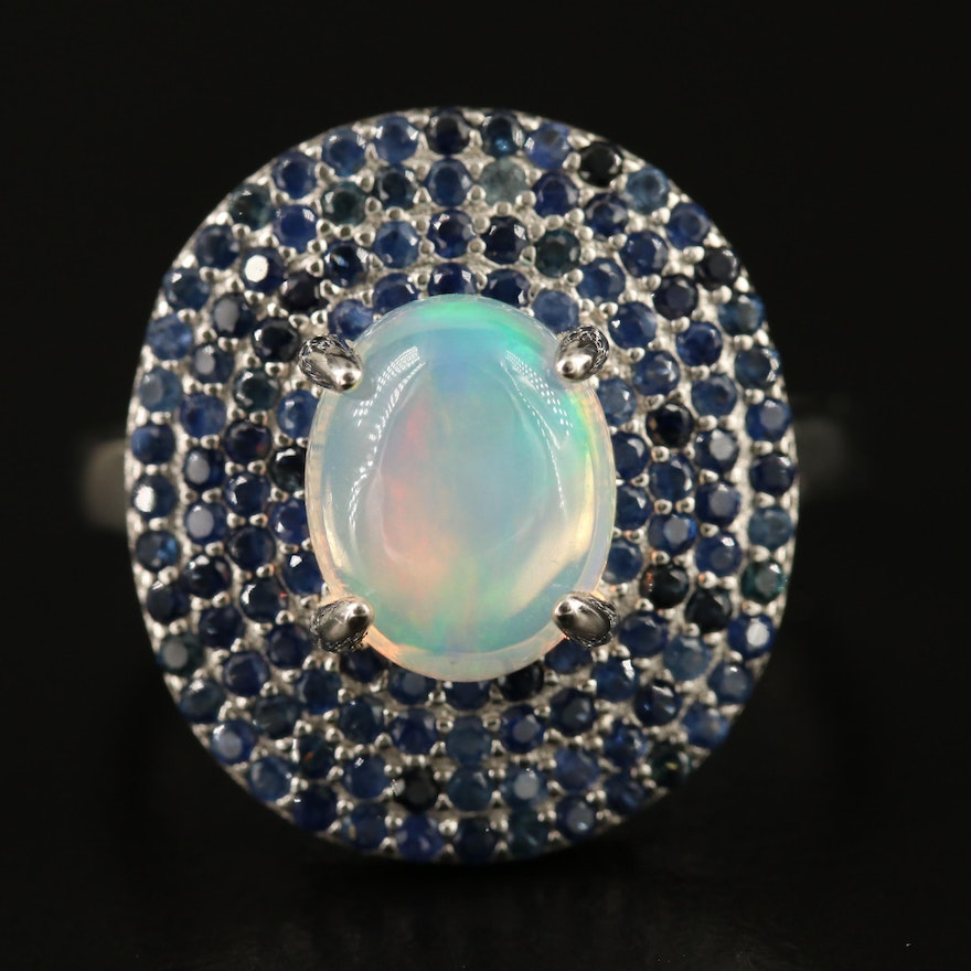 Sterling Silver Opal and Sapphire Oval Ring