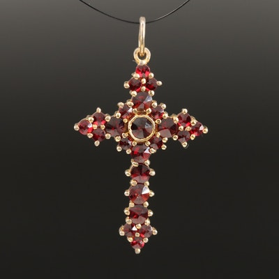 French 900 Silver Garnet Cross Pendant