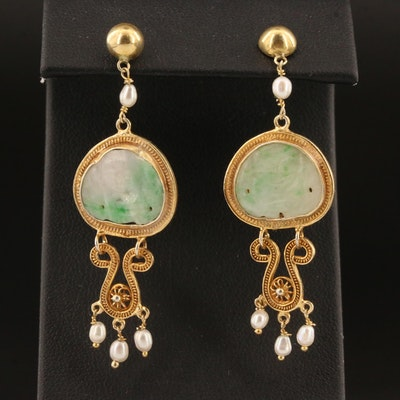 Sterling Silver Carved Jadeite Buddhai Earrings with Cultured Pearl Drops