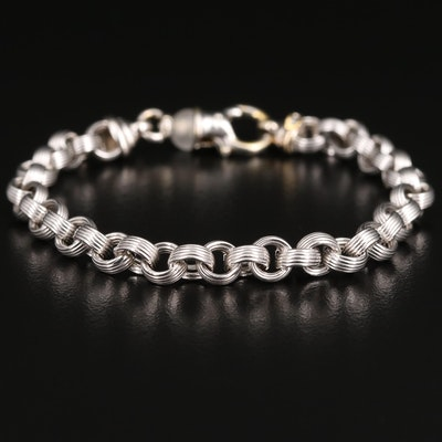18K Rolo Bracelet with Quartz Accented Clasp
