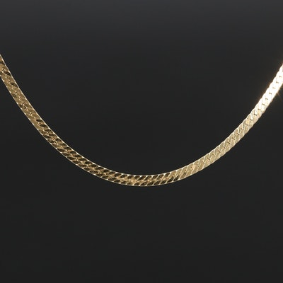 18K Herringbone Chain Necklace