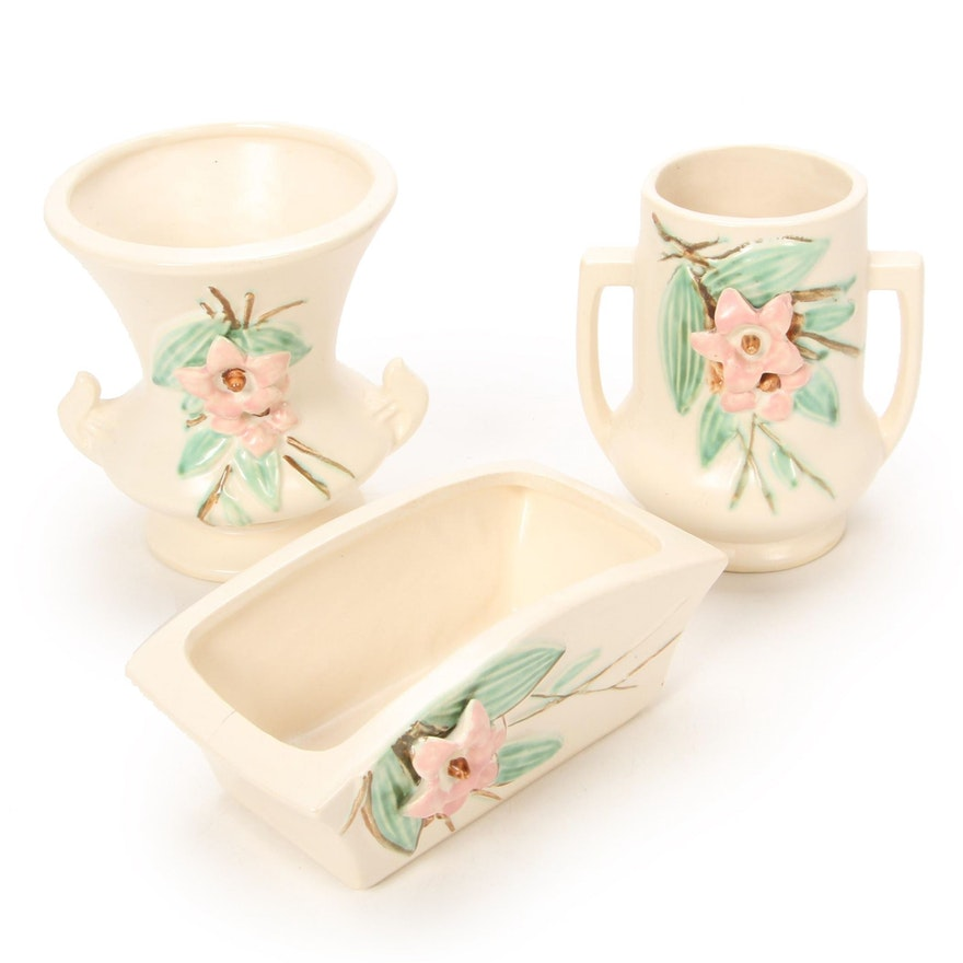 "McCoy Pottery ""Blossom Time"" Vases and Planter, Mid-20th Century"