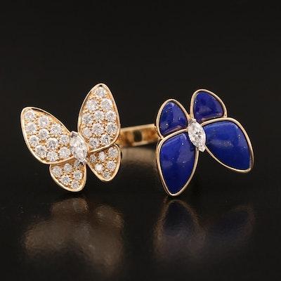 Van Cleef & Arpels 18K Diamond and Enamel Between the Fingers Butterfly Ring