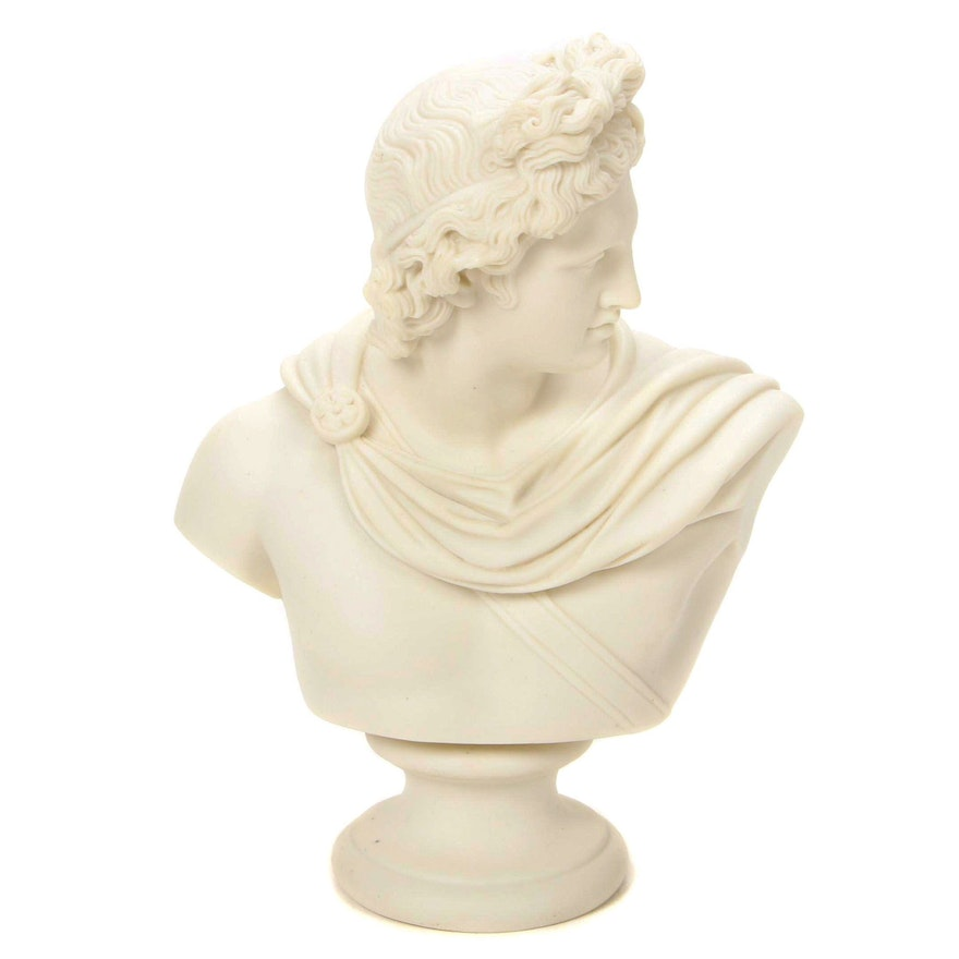 Parian Ware Bust of Apollo, Late 19th Century