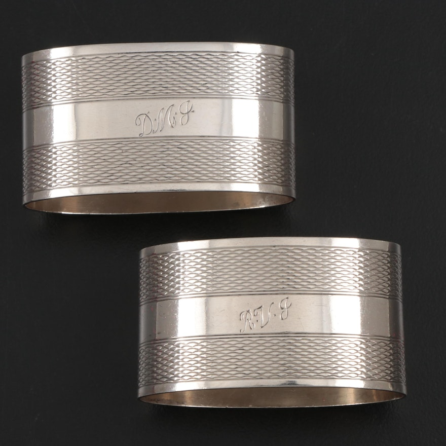 J. Gloster Ltd. Sterling Silver Napkin Rings, Early to Mid 20th Century