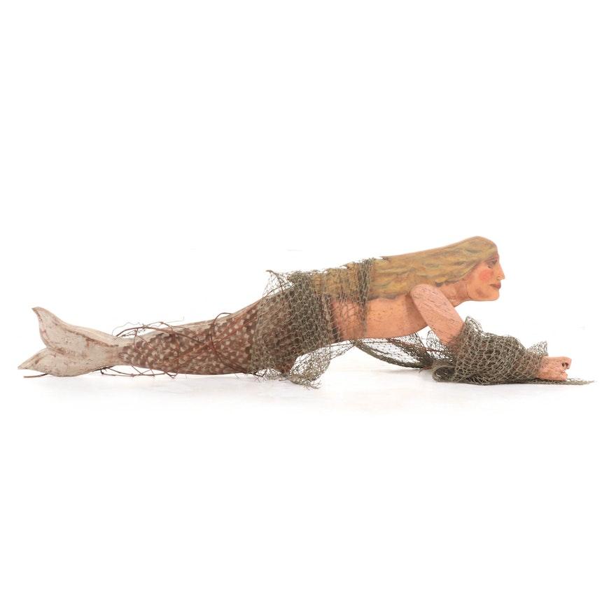 Mixed Media Folk Art Sculpture of Mermaid