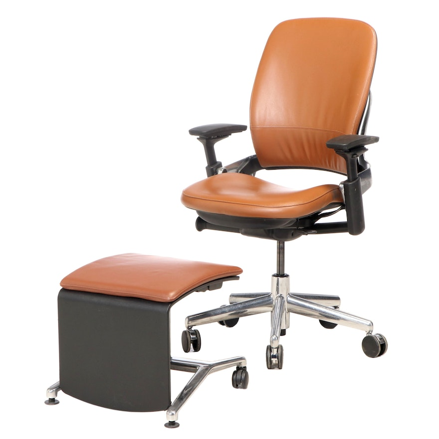Steelcase Leap V2 Leather Upholstered Office Chair with Converting Ottoman