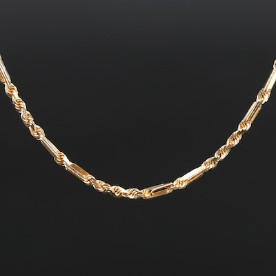 Beverly Hills Gold 14K Fancy Rope Chain Necklace