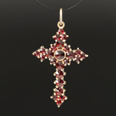 French 900 Silver Garnet Cross Pendant