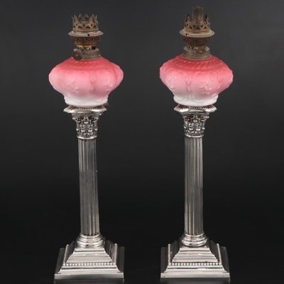 Gorham Weighted Sterling Candlesticks with Pink Opaque Glass Oil Lamp Toppers