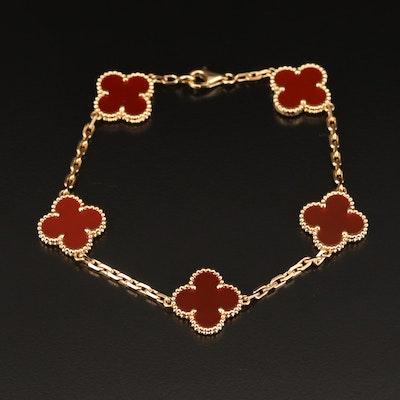 """Vintage Van Cleef & Arpels """"Alhambra"""" 18K Carnelian Bracelet"""