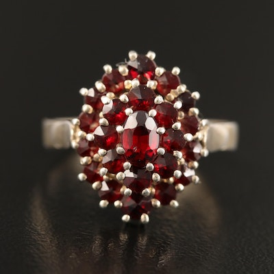 French 900 Silver Tiered Garnet Ring