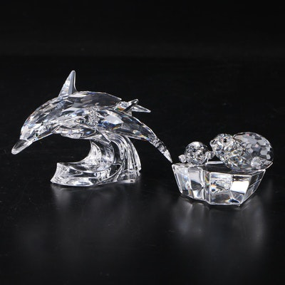 "Swarovski Crystal Annual Edition ""The Dolphins"" and ""Save The Seals"" Figurines"