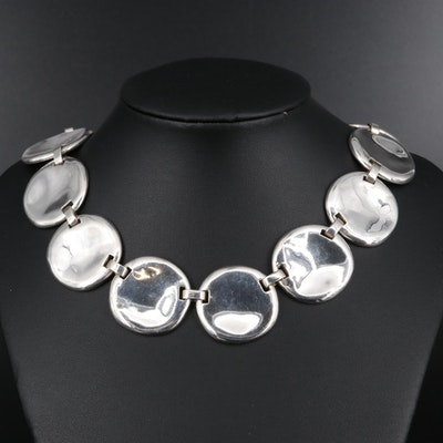 Sterling Wavy Disc Necklace