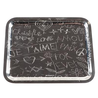 """Christofle """"Graffiti"""" Silver Plate Tray"""