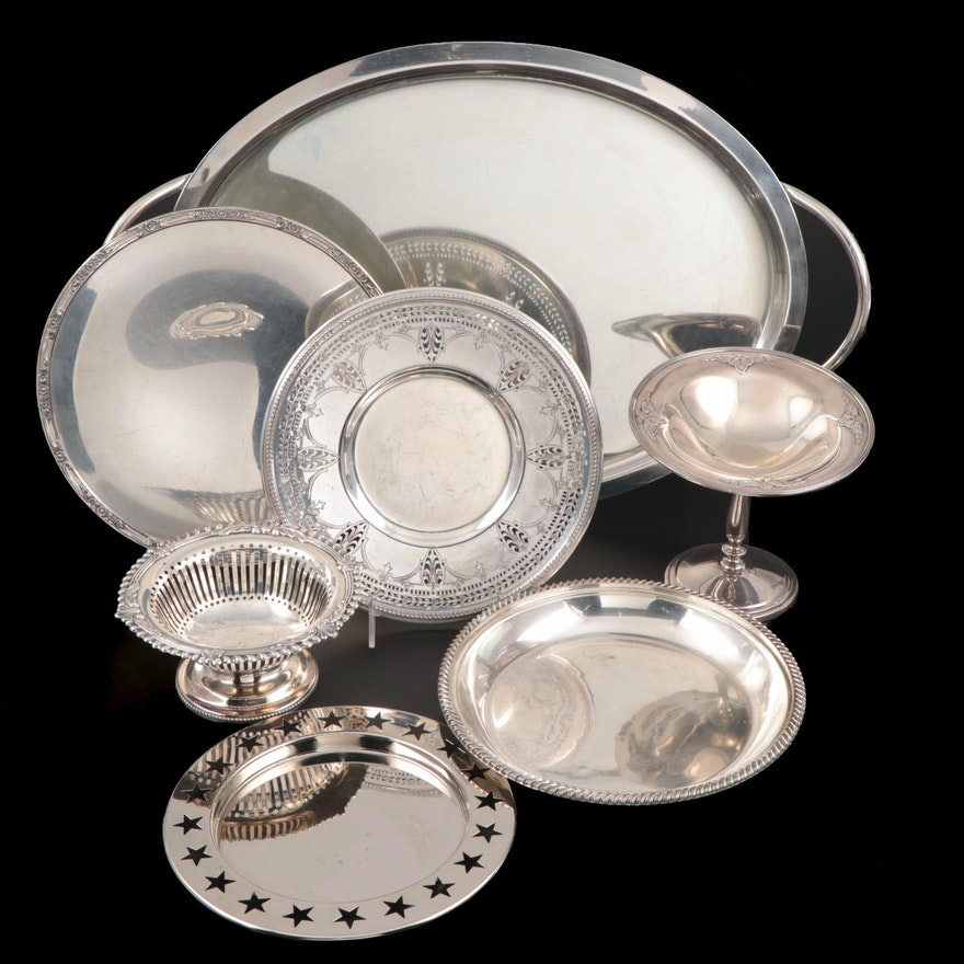 Oval Double Handled Serving Tray and Other Silver Plate Serving Pieces