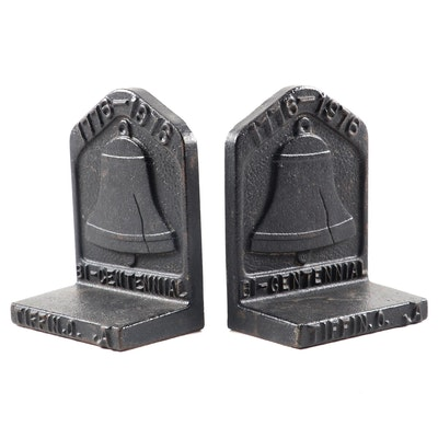 Tiffin, Ohio Bicentennial Cast Iron Liberty Bell Bookends, 1976