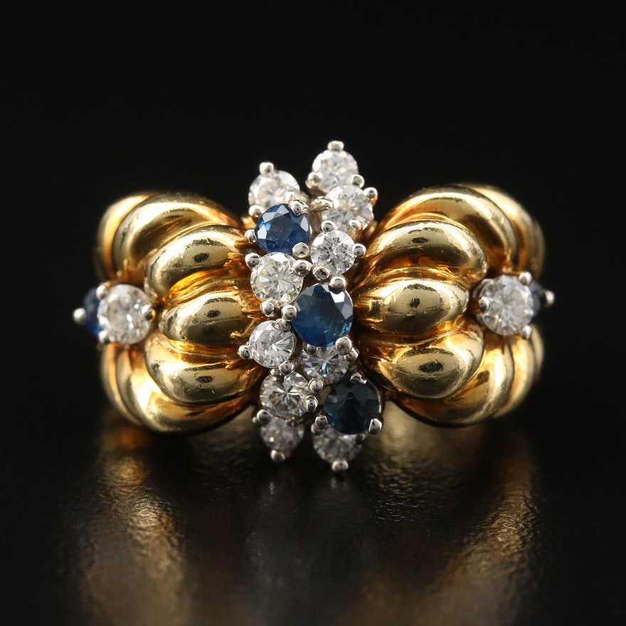 18K Sapphire and Diamond Ring with Fluted Design