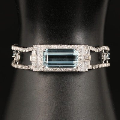 Art Deco Platinum Aquamarine and 3.41 CTW Diamond Bracelet with GIA Report