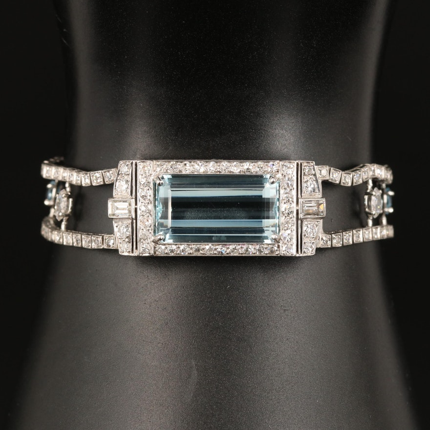 Art Deco Platinum Aquamarine and 3.41 CTW Diamond Bracelet with GIA Report
