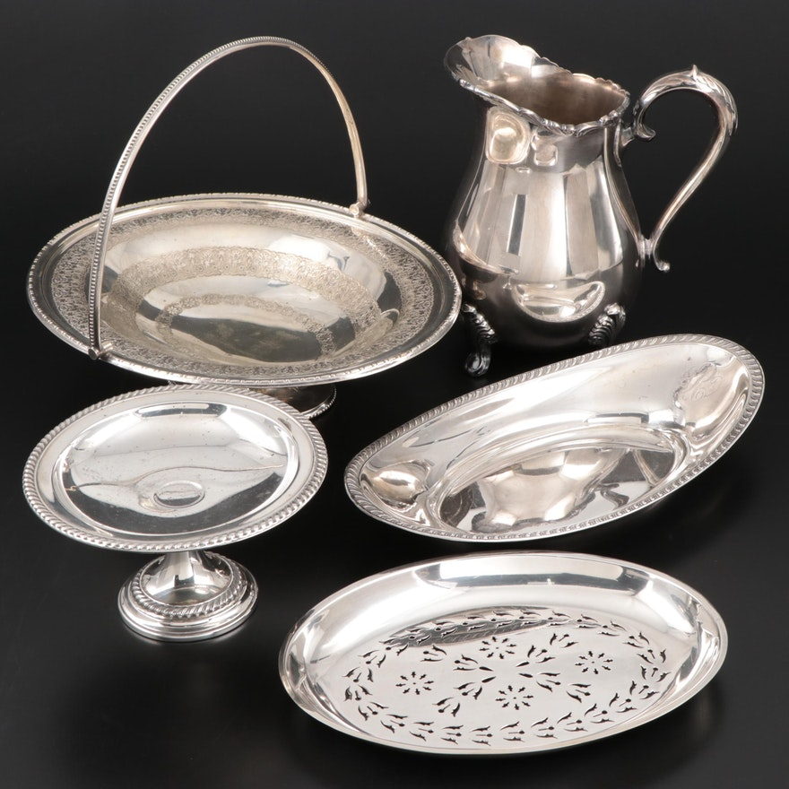 Sterling Silver Dish and Compote with Other Silver Plate