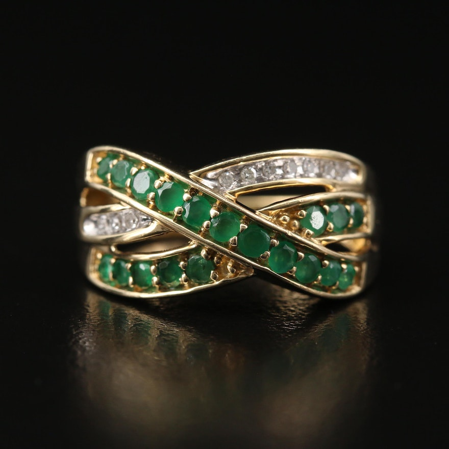 10K Emerald and Diamond Crossover Ring