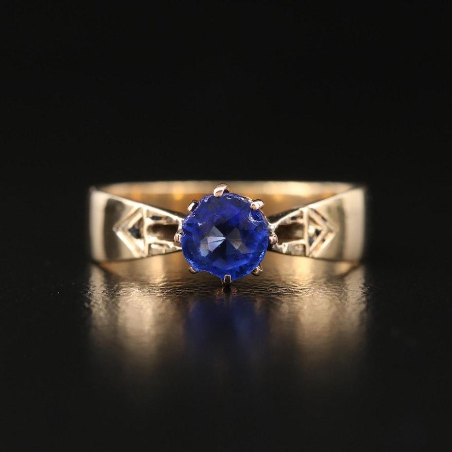 14K Garnet Glass Doublet Ring