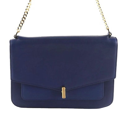 Reiss Tali-Lock Blue Leather Flap Front Shoulder Bag