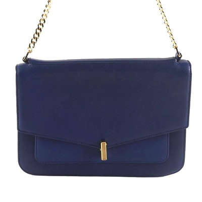 Reiss Tali-Lock Blue Leather Flap Front Shoulder Bag
