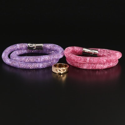 "Swarovski Crystal ""Stardust"" Double Bracelets and ""Gallon"" Interlocking Ring"