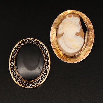 Vintage 10K Diana Shell Cameo Converter Brooch with Glass Brooch