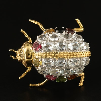 Sterling Aquamarine and Tourmaline Insect Brooch