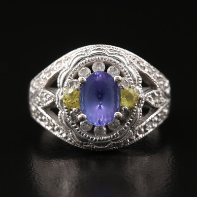 14K Tanzanite and Sapphire Ring with Diamond Accents