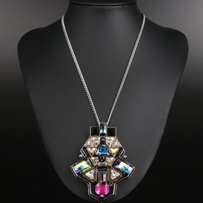 """Swarovski """"Buzz"""" Crystal Geometric Necklace"""