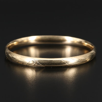 14K Etched Bangle