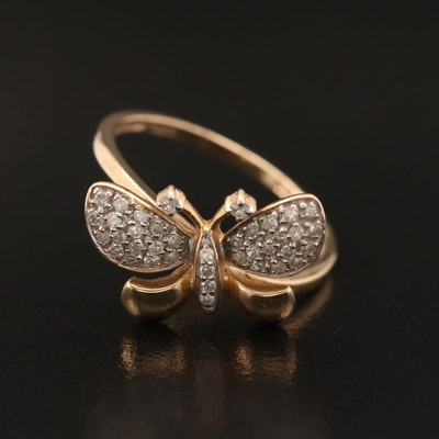 10K Diamond Butterfly Ring