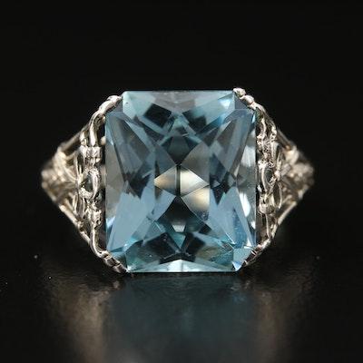 Edwardian 18K 6.35 CT Aquamarine Ring