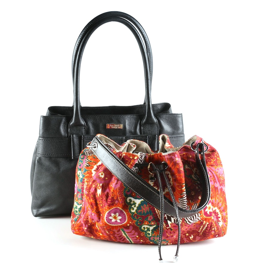 Kate Spade Harrison Street Elena Leather Tote and Floral Drawstring Bag