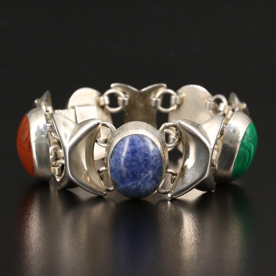 Mexican Sterling Silver Jasper, Mahogany Obsidian and Sodalite Link Bracelet