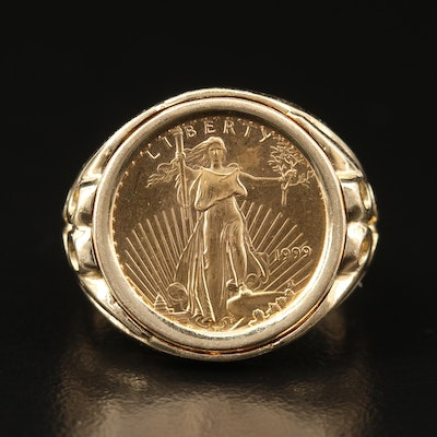 14K Coin Ring Featuring 1999 Gold Eagle Bullion Coin