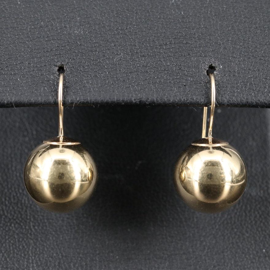 14K Sphere Drop Earrings