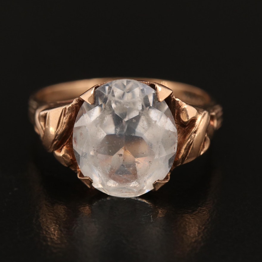 Antique 10K Faceted Glass Ring