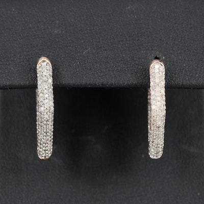 14K Diamond Inside-Out Geometric Hoop Earrings