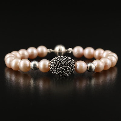 Michael Dawkins Pearl Bracelet with Sterling Silver Clasp and Beads