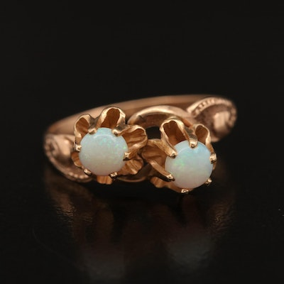 Antique 10K Double Opal Ring with Buttercup Settings
